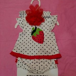 Starting Out Strawberry Outfit w/Headband